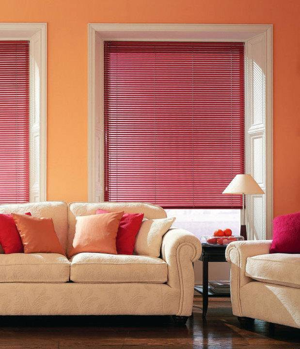 red venetian blinds in home living room